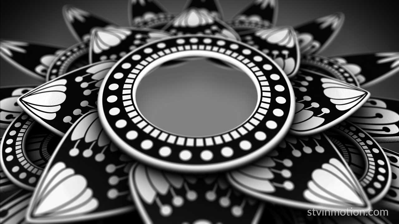 Black and white petals mandala