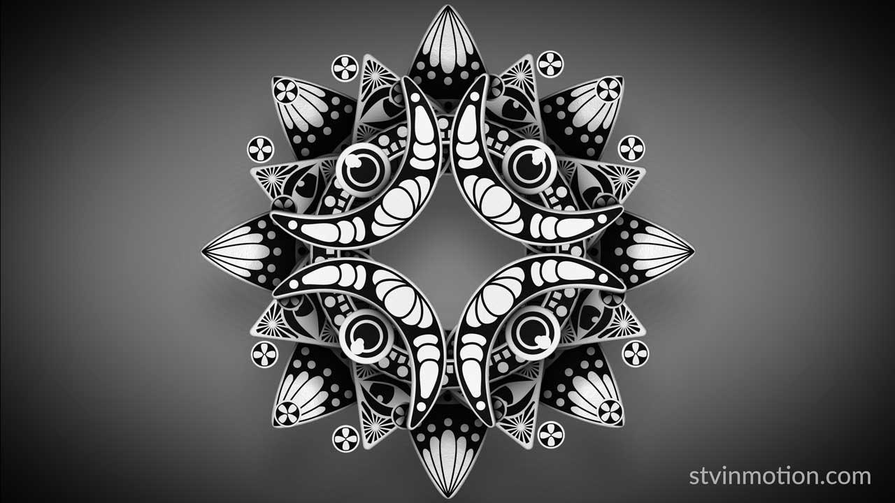 Black and white crescent mandala