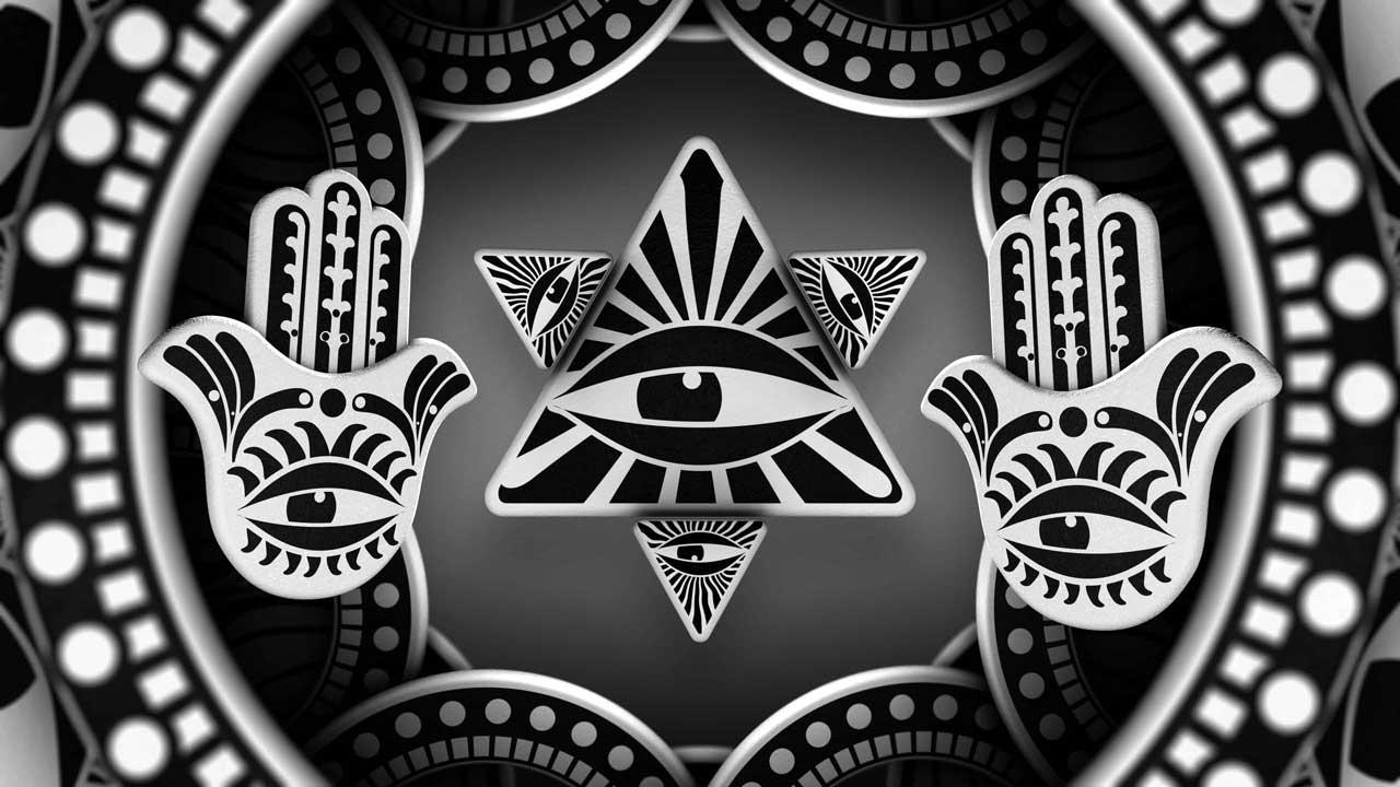 Black & white Eye of Providence and Hamsa symbols