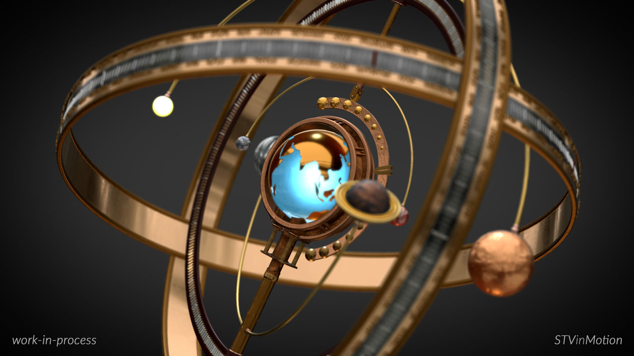 Steampunk Armillary Sphere model