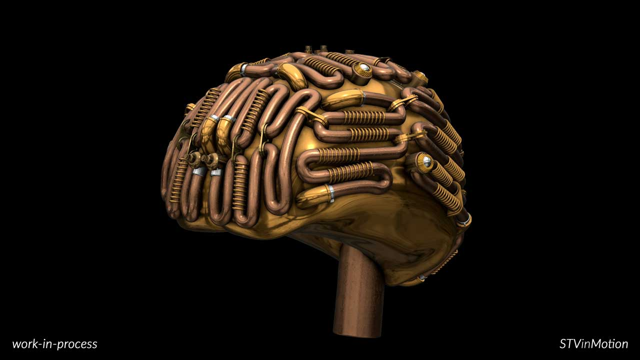 Human Brain in steampunk style