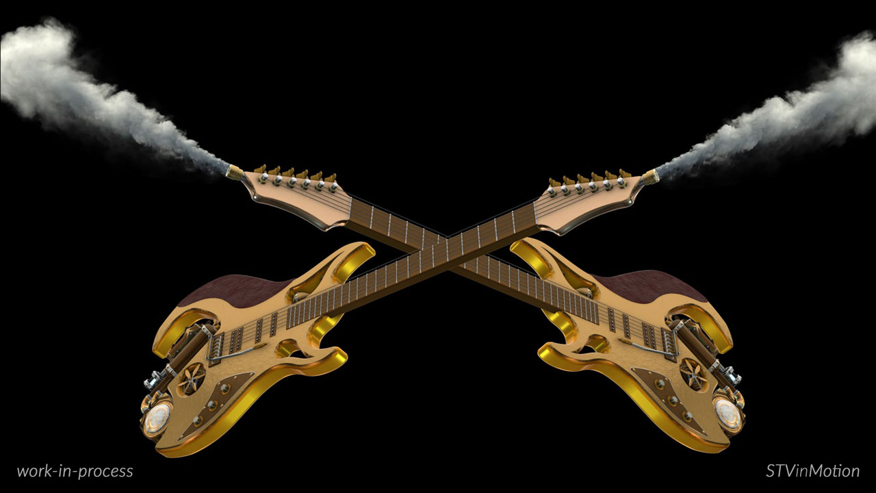 3D Steampunk Guitars in action