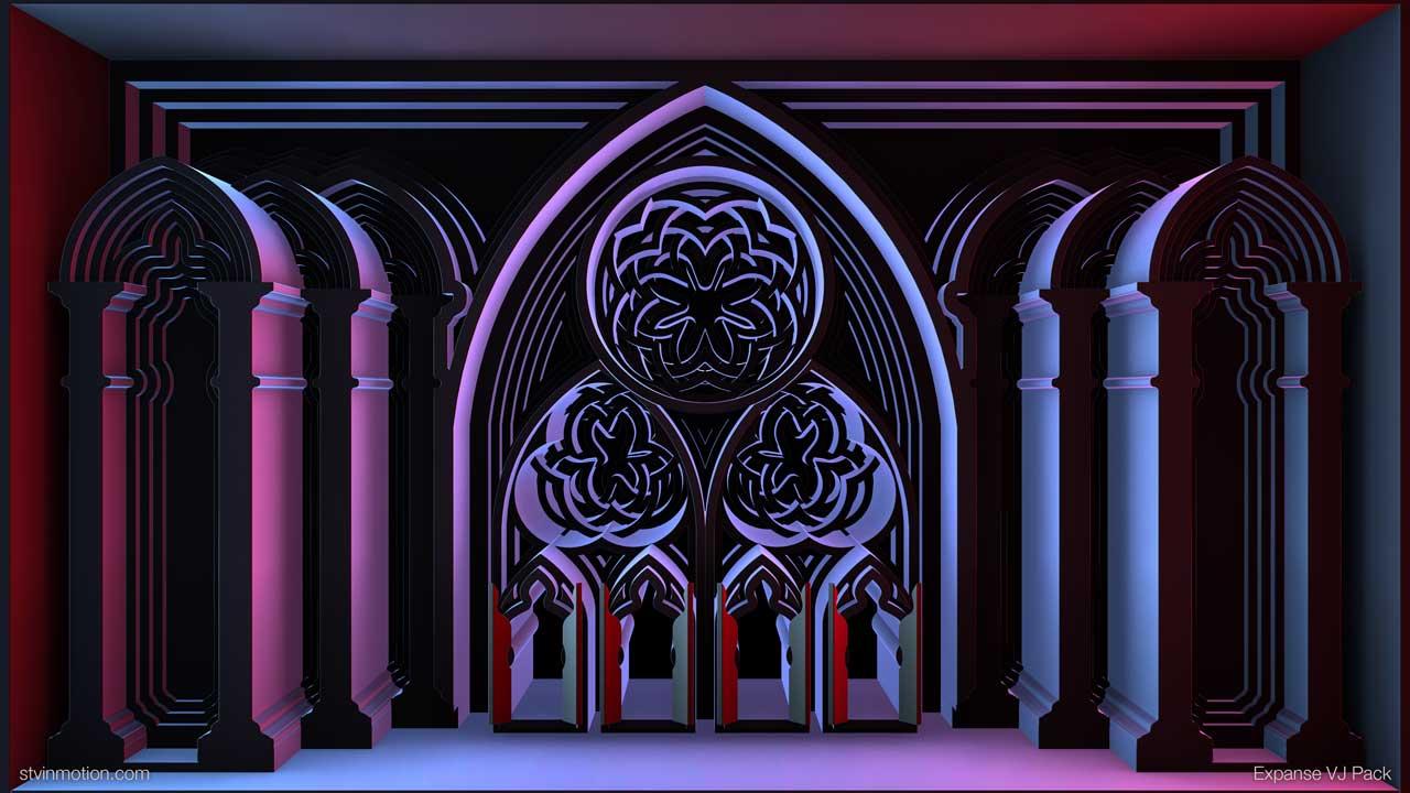 Neon blue Gothic facade