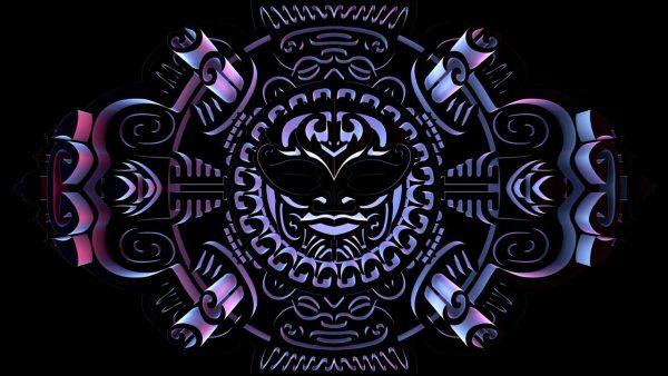 Neon blue Samoan Mask
